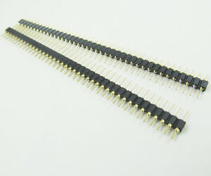1pc Gold Round 40pin Male Single Row 0 1 2 54mm Pitch Pcb Panel Pin Header