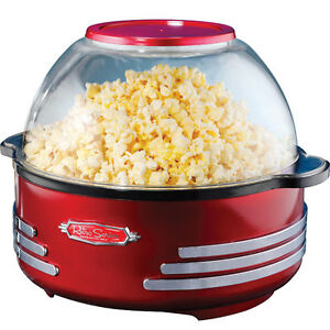Stirring Popcorn Popper W Serving Bowl Retro Style Home Pop Corn Maker Machine