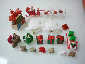 Vintage Christmas Tree Ornaments Teddy Bear Santa Jingle Bells Junk Drawer