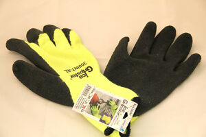 12pk High Visibility Winter Thermal Rubber Coated Hi vis Lime Gloves Large