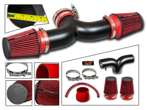 Matte Black Dual Twin Air Intake red Filter For 99 04 Grand Cherokee 4 7 V8