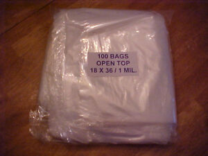 100 Clear Plastic 1 Mil 18x36 Poly Bags 18 X 36