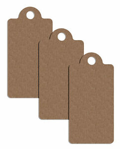 100 X Plain Brown Card Clothing Tags 40mm X 19mm Tagging Tag Gun Price Labels