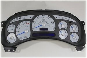 4a 03 04 Custom White Silverado Tahoe Complete Escalade Style Instrument Cluster