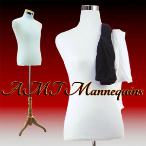 Male Manikin Torso stand 2 Covers White Black Dress Form Torso mf 102