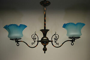 Antique Victorian Glass Gas Chandelier Old Eapg Hanging Oil Kerosene Lamp Gwtw
