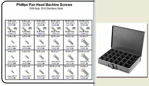 Stainless Pan Head Phillips Machine Screw Assortment In Locking Metal Tray Kit