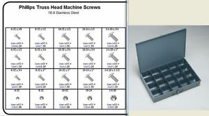 Stainless Truss Head Phillips Machine Screw Assortment In Locking Metal Tray Kit