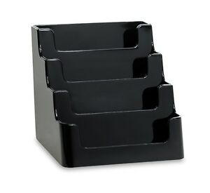 4 pocket Black Acrylic deflect o Style Counter top Business Card Holder