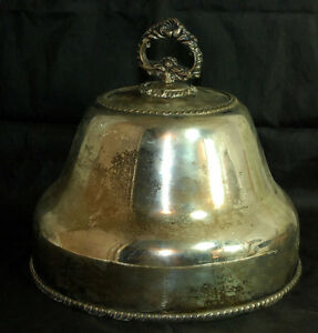 Heavy Vintage Silver Plate Cover With Ornate Handle Beautiful Decorate
