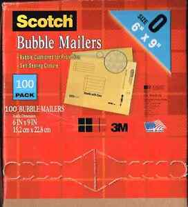 100 Pc High Quality 3m Scotch Bubble Mailers Size 6x9 Great For Mailing Dvds
