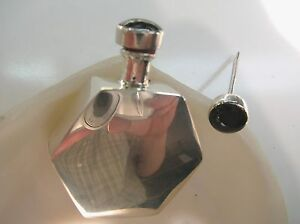 Sterling Silver Hexagon Shape Perfume Bottle Vintage Style W Onyx No Bail