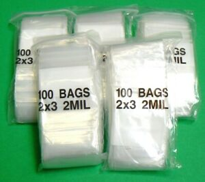 2x3 White Block Poly Reclosable Zip Bags 2mil Writeable 2 x 3 2 Mil 500 Bags