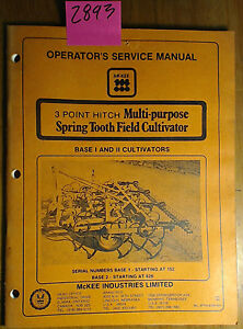 Mckee 3 Point Hitch Multi purpose Spring Tooth Field Cultivator Base I Ii Manual