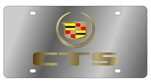 New Cadillac Gold Cts Logo Stainless Steel License Plate