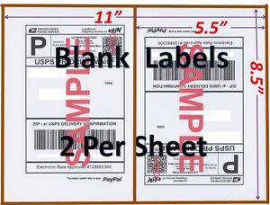 S 6000 Shipping Labels Blank Labels 2 sheet usps Ups Fedex Paypal Self Adhesive