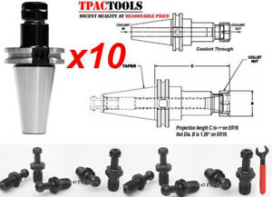 10pc Cat40 Er16 Precision Collet Chuck 20000 Rpm Tenth Accuracy Haas Pull Stud