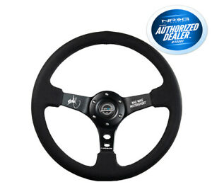 Nrg Deep Dish Steering Wheel 350mm Black Leather Blue Center Limited Edtion
