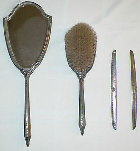Antique Sterling Silver Grooming Set Mirror Brush Comb Ends Slb Saart Brothers