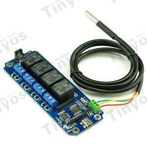 4 Channel Usb wireless Relay Board with Temperature Ds18b20 Andriod ios