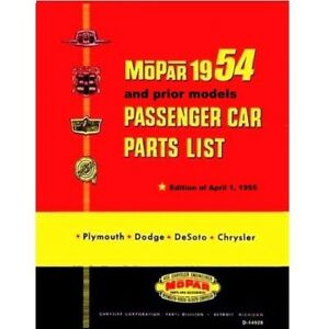 Illustrated Mopar Parts Manual For 1953 1954 Plymouth Dodge Desoto Chrys