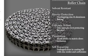 50 2 Dacromet Corrosion Resistant Duplex Roller Chain 10ft 2 Connecting Links