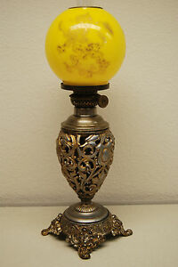 Antique Kerosene Gwtw Miniature Victorian Gild Lion Yellow Glass Shade Oil Lamp