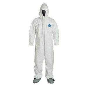 Dupont White Tyvek Coverall Suits Ty122swh W Attached Hood Booties