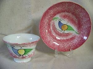 Spatterware Peafowl Pattern Cup And Saucer 1