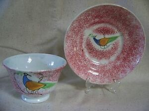 Spatterware Peafowl Pattern Cup And Saucer 2