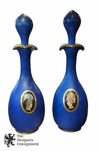 2 Early 20th Cent Blue Figural Painted Porcelain Decanters Greek Style Gold Trim