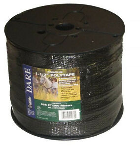 Usa Dare 1 And 1 2 Inch Poly Black Electric Fence Horse Tape 656ft Heavy Duty