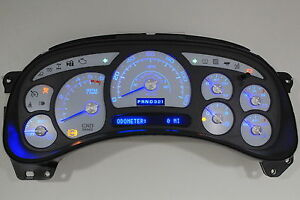 8a 03 04 2003 2004 Custom Escalade White Gauge Face Blue Led Replacement Cluster