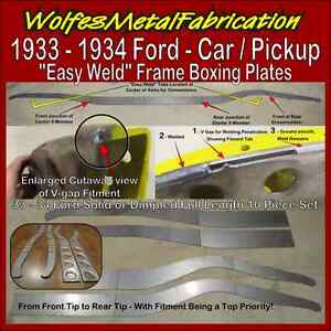 1933 1934 Ford Easy Weld Dimpled Frame Boxing Plates 33 34 Belled Chassis