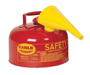 Safety Gas Can With Funnel 2 Gallon Red Galvanized Steel Eagle Ui 20 fs