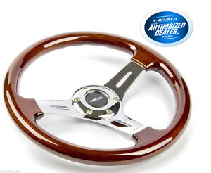 Nrg Wood Grain Steering Wheel Chrome Center 3 Spoke St 015 1ch