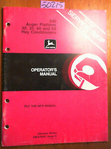 John Deere 240 Auger Platform For 30 35 60 65 Hay Conditioner Operator Manual 81