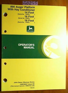 John Deere 890 Auger Platform W Hay Conditioner 14 16 18 Operator Manual 00