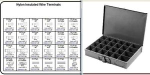Nylon Electrical Terminal Assortment 450 Pc Large Metal Tray