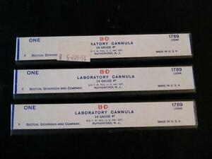 Lot Of 3 Becton Dickinson B d Bd 14 Gauge 4 Laboratory Cannula 1789 1250nr
