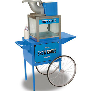 Benchmark Snow Cone Maker Shaved Crushed Ice Machine W Trolley Cart Stand New