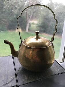 Ornate Antique Brass Kettle With Engraved Patterns
