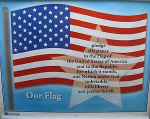 Nystrom 2 Layer Pull Down Map Our Flag And Pledge Of Allegiance Map 1fsc