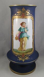 Antique Old Paris Porcelain Cobalt Portrait Vase Blue Bird 1850