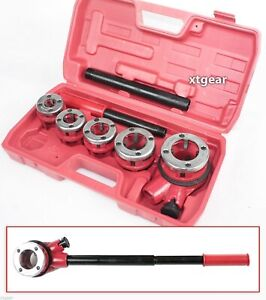New Heavy Duty Pipe Threader Ratchet Type W 5 Dies Professional