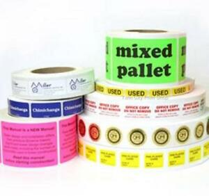 Printed Stickers Labels 10 000 Rectangle 1 X 2 Custom Business 1 color Rolls