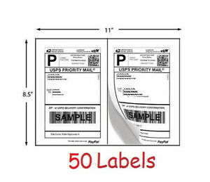 Shipping Labels 50 Self Adhesive Printer Paper Ebay Paypal Postage 8 5 X 5 5