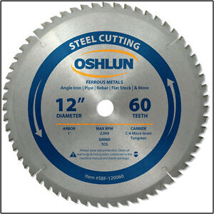 Oshlun Sbf 120060 12 X 60t Steel Cutting Saw Blade