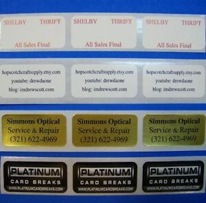 250 Printed Labels 3 4 X 1 1 4 Custom Rectangle Business Stickers 1 Color Ink