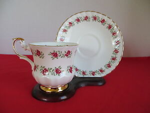 Rosina Cup And Saucer Made In England Red Roses On White Gold Leaf Trim